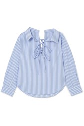 Clu Off The Shoulder Striped Cotton And Tencel Blend Shirt Blue