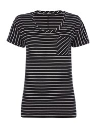 Replay Striped T Shirt With Chest Pocket Multi Coloured Multi Coloured