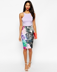 Asos Pencil Skirt In Texture With Oversized Floral Print Oversizedfloral