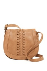T Shirt And Jeans Whipstitched Faux Leather Saddle Bag Brown