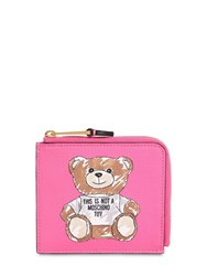 Moschino Teddy Print Card Case Fuchsia