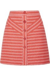 Maje Jalil Tweed Mini Skirt Bright Orange