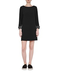 French Connection Crystal Long Sleeve Shift Dress Black Silver