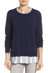 Nydj Women's 'Two Fer' Layered Look Sweater Roman Holiday Stripe