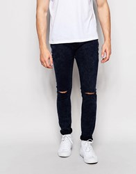 Pull And Bear Super Skinny Jeans In Dark Blue Acid Wash With Knee Rips Dark Blue