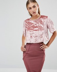 Missguided Pleated Velvet Crop Top Pink
