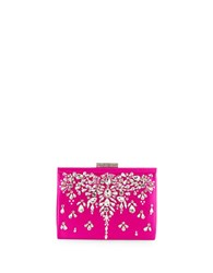 Badgley Mischka Adele Satin Clutch Fuchsia