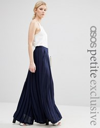 Asos Petite Pleated Wide Leg Trouser Navy