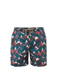 Thorsun Peaks Geometric Print Swim Shorts Navy Multi