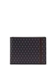 Dunhill Engine Turn Coated Canvas Bi Fold Leather Wallet Grey