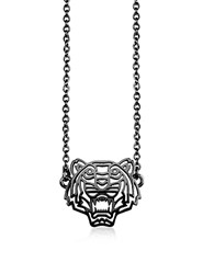 Kenzo Ruthenium Plated Sterling Silver Cut Out Tiger Necklace W Crystal Graphite