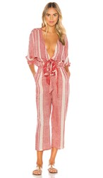 Tavik Swimwear Bailey Jumpsuit In Red. Washed Red