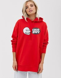 Cheap Monday Organic Cotton Hoodie With Skull Logo Red