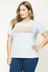 Forever 21 Plus Size Sunshine Tee Blue Red