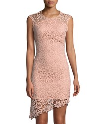 Bebe Asymmetric Lace Illusion Dress Blush