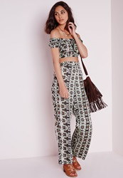 Missguided Aztec Print Wide Leg Trousers Multi