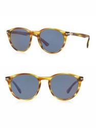 Persol 52Mm Round Sunglasses Blue Brown