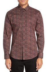 Vince Camuto Men's Trim Fit Print Sport Shirt Port Abstract Print