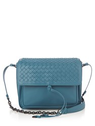 Bottega Veneta Intrecciato Leather Cross Body Bag Blue