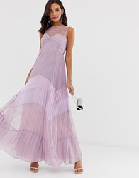True Decadence Premium Lace Yoke Maxi Dress With Contrast Lace Pleated Skirt In Tonal Lilac Purple