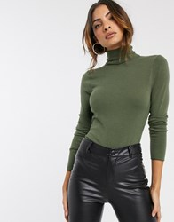 River Island Fine Knit Roll Neck Sweater In Khaki Green