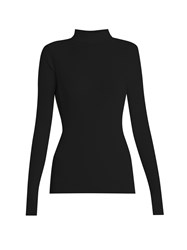 Simone Rocha Roll Neck Ribbed Knit Sweater Black