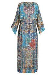 Etro Paisley Print Silk Blend Georgette Dress Blue