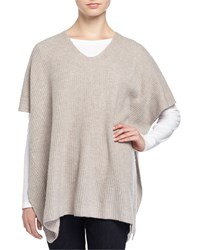 Philosophy Cashmere Cashmere Ribbed V Neck Poncho Light Mink