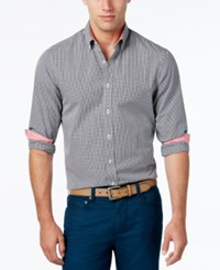 Weatherproof Men's Mini Gingham Long Sleeve Shirt Contrast Cuffs Black