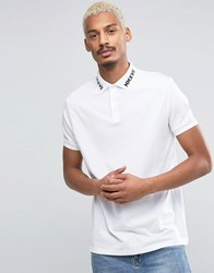 Asos Polo Shirt With Roman Numeral Embroidered Collar In White White