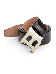 Bally Patent Leather B Buckle Belt Black