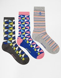 Penguin 3 Pack Ladies Socks In Triangle Print Multi