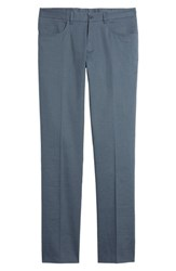 Monte Rosso Flat Front Stretch Linen And Cotton Trousers Blue