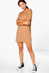 Boohoo Strap Detail T Shirt Dress Camel
