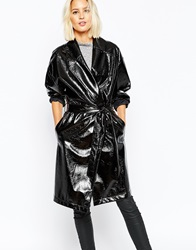 Selected Scarlet Shiny Belted Trench Coat Black