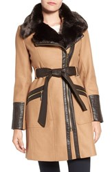 Via Spiga Women's Faux Leather And Faux Fur Trim Belted Wool Blend Coat