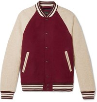 J.Crew Melton Colour Block Wool Blend Bomber Jacket Burgundy