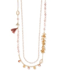 Lonna And Lilly Gold Tone Multi Stone Tassel Double Strand Necklace