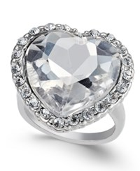 Thalia Sodi Silver Tone Crystal Heart Ring Only At Macy's