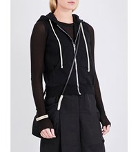 Drkshdw Sleeveless Cropped Cotton Jersey Hoody Black