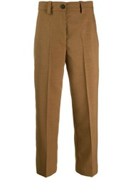 Erika Cavallini Cropped Tailored Trousers Brown