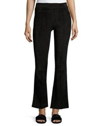 The Row Athby Suede Kick Flare Leggings Black