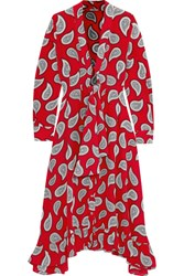 Dodo Bar Or Lennon Paisley Print Silk Crepe Midi Dress Red