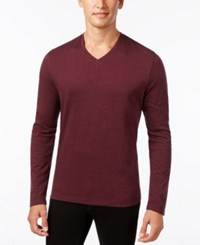 Alfani Men's Jacquard V Neck Long Sleeve T Shirt Only At Macy's Hazy Fire