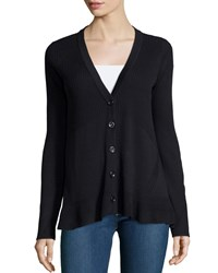 Design History Button Front Peplum Cardigan Onyx