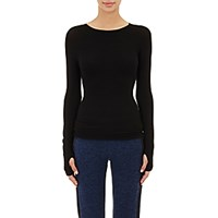 Live The Process Women's Seamless Long Sleeve Shirt Black Blue Black Blue