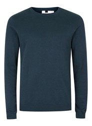 Topman Blue Navy And Green Twist Slim Fit Jumper