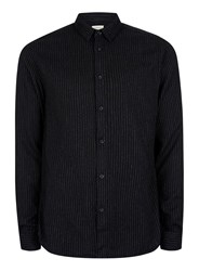 Topman Selected Homme Black And White Fine Stripe Cotton Shirt