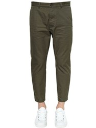 Dsquared 16Cm Hockney Cotton Twill Pants Army Green