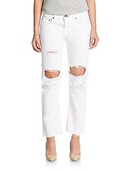 Rag And Bone Distressed Boyfriend Jeans Aged White